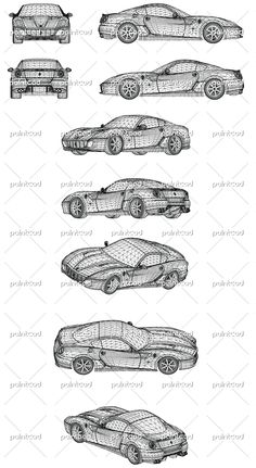Wireframe design of modern sports car. Vector illustration of isolated objects over white background. Axonometric 3d views.