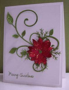 Blooming Poinsettia die (Poppy Stamps), Fanciful Flourish die (Cheery Lynn), pine branch punch (McGill),