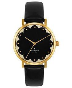 kate spade new york Watch, Womens Metro Black Leather Strap 34mm 1YRU0227 - All