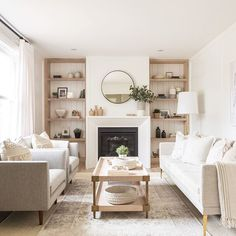 Attractive Neutral Living Room Inspiration,Room Redo Serene Neutral Living Room Copycatchic throughout Attractive Neutral Living Room Inspiration, Home Fireplace, Living Room With Fireplace, Home Living Room, Living Room Designs, Living Room Decor, Fireplaces, Fireplace Shelves, Cream Living Room Warm, Over Fireplace Decor