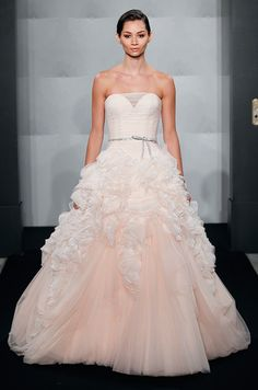 Mark Zunino Fall 2013 Blush Bridal Gown. Beautiful & unique! This was on SYTTD tonight on Kara Keough from The Real Housewives of Orange County. Loved it!
