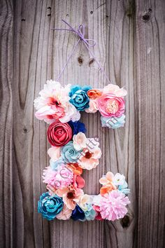 "ETSY item $ $39.95 Custom 13 1/2"" Floral Letter // Nursery decor, Birthday party decor, photo prop"