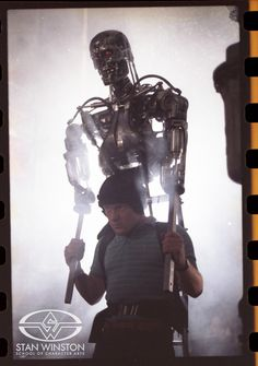 Shane Mahan wears the walking-rig endoskeleton animatronic puppet in James Cameron's The Terminator.