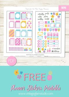 Free Printable Mini Happy Planner Stickers from Vintage Glam Studio