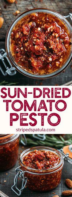 Sun-Dried Tomato Pesto Recipe (Pesto Rosso) - A rich pesto variation that's naturally gluten-free and vegan! | Sun-Dried Tomato Recipes | Pasta Sauce Recipes | #pesto #sauce #glutenfree #veganrecipes via @stripedspatula