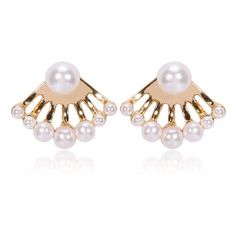 Elegant Ivory Pearls Array Ear Jackets ($22) ❤ liked on Polyvore featuring jewelry, earrings, ear jacket, pearl jewellery, ivory jewelry, white pearl earrings, pearl jewelry and pearl earrings