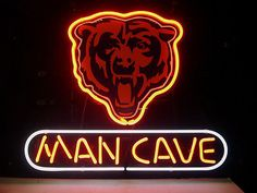 NEW NFL CHICAGO BEARS FOOTBALL MAN CAVE REAL GLASS NEON BEER BAR PUB LIGHT SIGN