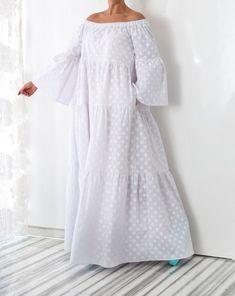 NEW collection, white maxi dress, boho dress White Maxi Dresses, Trendy Dresses, Cotton Dresses, Nice Dresses, Casual Dresses, Dress Outfits, Dresses With Sleeves, Summer Dresses, Summer Maxi