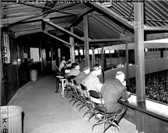 Third deck press box at Briggs Stadium 1947 Tiger Stadium, Sports Stadium, Detroit Sports, Detroit Tigers Baseball, Baseball Park, Sports Baseball, Detriot Tigers, Motown, Vintage Pictures