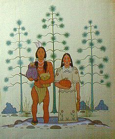 """Caddo creation story, by Acee Blue Eagle. Courtesy of Watson Memorial Library, Northwestern State University."" Use left navigation bar to learn more about the history and culture of Arkansas' indigenous peoples."