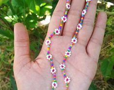 Seed Bead Jewelry, Bead Jewellery, Cute Jewelry, Women Jewelry, Jewelry Bracelets, Beaded Necklaces, Diy Jewelry, Beaded Choker, Etsy Necklaces
