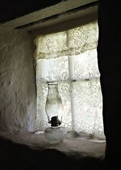 Oil Lamp, recessed stone window sill, old fashioned lace curtains Old Windows, Windows And Doors, Sliding Windows, Cottage Windows, Lace Curtains, Vintage Curtains, Roman Curtains, Layered Curtains, Short Curtains