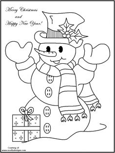 Happy New Year From Mr Snowman Coloring Pages