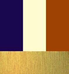 color palette navy, ivory, burnt orange & gold