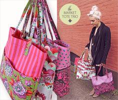 Market Tote Trio in Tula Pink's Elizabeth: FreeSpirit Fabrics