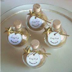 SIX Fairy Dust BOTTLES - Magical Gold wishing dust with mini wand - Party Favors for 50th Anniversary or Birthday