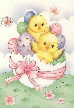 Easter chicks in a  cute broken Easter egg