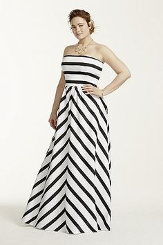 Plus Size Strapless Striped Ball Gown -- David's Bridal ..  I love this!!!!