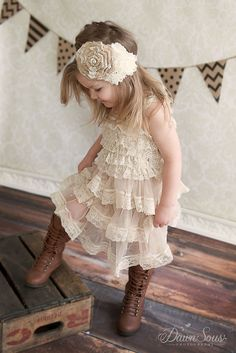 Flower Girl Dress Lace Pettidress-Rustic by CountryCoutureCo