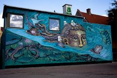 Collab Ericailcane + Bastardilla - New mural for Kunst & Byrum's urban art project - Helsingør Aquarium, Denmark - Aug 2014