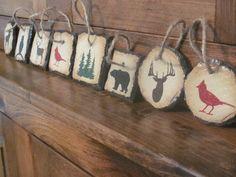 DIY...Rustic animal slate hand painted ornaments