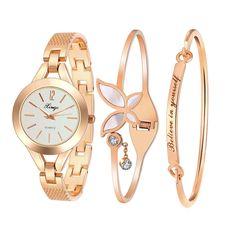 ca32591180f Xinge Luxury Women Crystal Diamond Gold Rhinestone Bracelet Watches Ladies  Dress Wristwatches Bangle Watch And 2 Bracelets Set