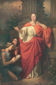 La poetessa Jadwiga Łuszczewska, che utilizzava il nome d'arte Diotima, in posa come l'antica veggente in un dipinto del 1855 di Józef Simmler.