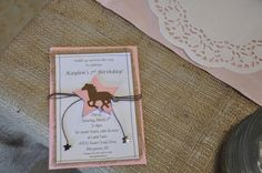 7th invite idea- if can't find available or cheap rafia type insert, perhaps torn brn paper bag intween intead?