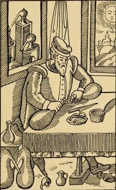 A 16th century alchemist at work in the ante-room of his laboratory, fixing a portion of his apparatus. On the table is his luting box and knife. His laboratory is visible through the window with various-sized stills.