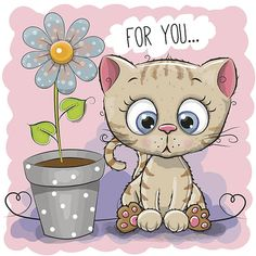 Greeting card cat with flower vector image on VectorStock Kitten Cartoon, Cute Cartoon, Image Nature, Cat Flowers, Kittens Cutest, Blue Backgrounds, Clipart, Cartoon Network, Cute Drawings