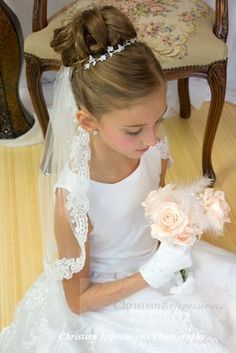 first communion veils hair styles