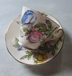 Vintage Bone China Teacup & Saucer,Salisbury Crown China, Made in England, Pastel Poppy Flowers, Number 1729, Wedding, Bridal Shower,