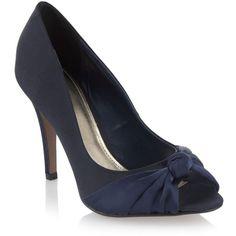 Navy satin knot peep toe heels, found on polyvore.com