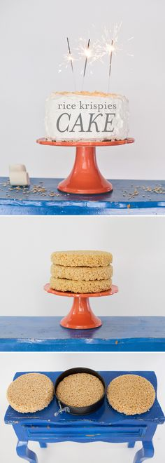 How to make a Rice Krispies cake. My favorite- rice krispies! Rice Krispies, Rice Krispie Cakes, Rice Crispy Cake, Just Desserts, Delicious Desserts, Dessert Recipes, Yummy Food, Dessert Healthy, Cupcakes