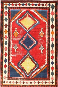 Colorful Shabby Chic Vintage Persian Gabbeh Rug 48968 Detail/Large View