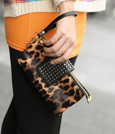 Studded Leopard Print Clutch – Clutches & Sling Bags | yeswalker | Free worldwide shipping on every order