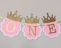 Pink and Gold First Birthday Banner. Princess door TinyEnchantments