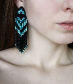 Black & turquoise Native America earrings  Dangle Long