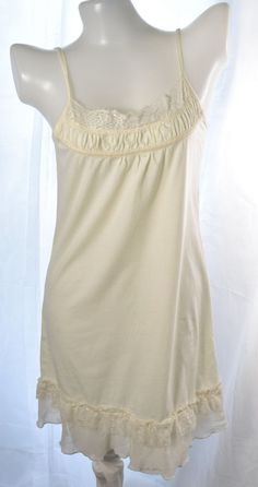 Fortune cookies Ladies ivory cotoon camisole full slip dress no.074 size L #Fortunecookies #FullSlipsgown