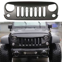 Matt Black Angry Bird Front Grille FIT 07~15 Jeep Wrangler JK Rubicon 2/4 Door
