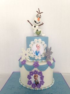 Frozen cake w/ sculpted olaf. Sculpted Olaf using Laura from Krazy Kool Cakes tutorial