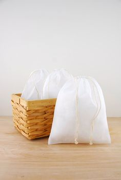 Use as produce and bags for bulk shopping! - Muslin Bags White 8x10in (Pack of 12)