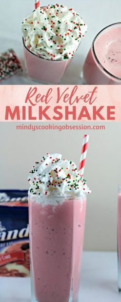 Red Velvet Milkshake combines ice cream and milk to make a delicious and creamy homemade shake. Top with whipped cream for a restaurant style treat! #ad #HilandHolidays #milkshake #redvelvet