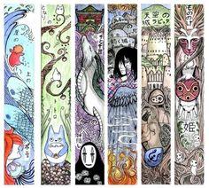 Ponyo sur la falaise, Mon voisin Totoro, Le voyage de Chihiro, Le château ambulant, Le château dans le ciel et Princesse Mononoké.