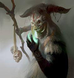 shaman by Fu Chenqi on ArtStation. High Fantasy, Fantasy Rpg, Fantasy World, Zooey Deschanel, Cyberpunk, Supernatural, Indie, Witch Doctor, Fantasy Monster