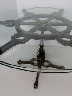 Check out this item in my Etsy shop https://www.etsy.com/listing/239749765/nautical-industrial-engine-table coffee table Car parts man cave automotive decor gear head