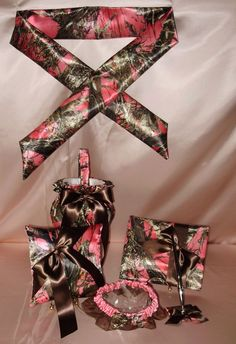 This ring pillow set perfect for wedding party. 1 x Garter. Note: The ground color of Ivory ring pillow is beige, the others are white. 1 x Flower Basket. 1 x Guest book. 1 x Ring Pillow. Sparking double heart buckle design to tie the ring. Pink Camo Wedding, Camo Wedding Rings, Wedding Unique, Wedding Ideas, Dream Wedding, Garter Set, Camo Garter, Country Style Wedding, Ring Pillows