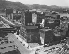 The point in Pittsburgh circa 1950, prior to Point State Park.