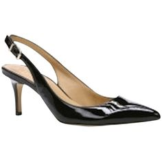 Pre-owned Ann Taylor Cameron Slingback Style #347532 By Ann Taylor. (€120) ❤ liked on Polyvore featuring shoes, pumps, black patent leather, black pointed-toe pumps, patent leather pumps, black high heel pumps, kitten heel pumps i black pointy pumps
