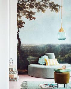 Gubi Taking The Nature Inside With A Moss Green Modern Line Pouffe P O Via Vtwonen Scandinavian Wallpaper Decor